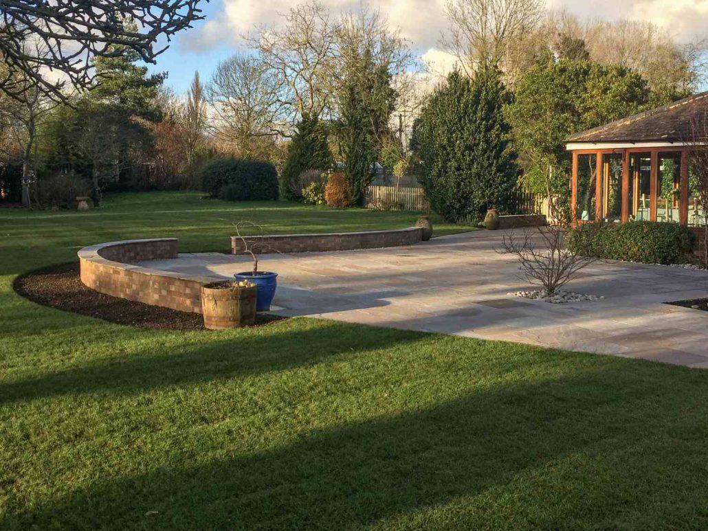 new lawn laid in garden