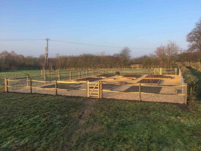 Vegetable garden with cleft chestnut fencing