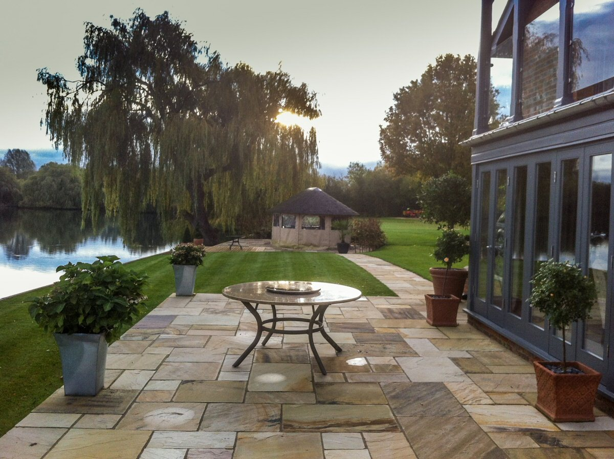 Patio and lawn landscaping